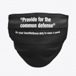 PROVIDE FOR THE COMMON DEFENSE BLACK FACE MASK/FACIAL COVERING