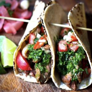https://www.feastingathome.com/grilled-steak-tacos-with-cilantro-chimichurri-sauce/