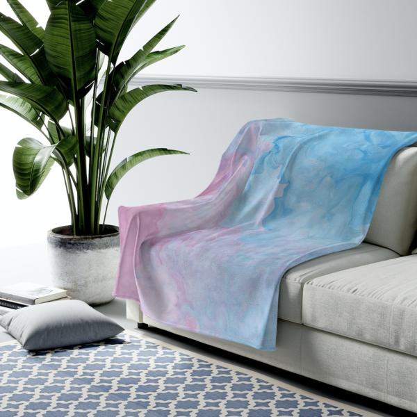 Pinkish Blue Pastel Abstract Velveteen Plush Blanket